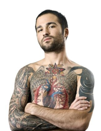 Bodysuit Tattoo Brust Arme Motiv