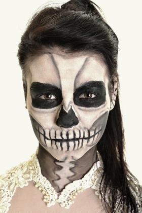 Tattoo Dia de los Muertos Totenmaske Schwarz Weiss Kunst Motiv