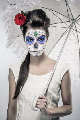 Tattoo Dia de los Muertos Totenmaske Motiv Kunst Blau