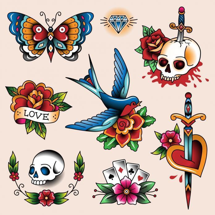 Tattoo Motive Totenkopf Stil