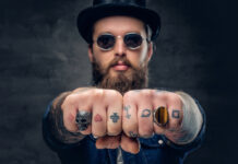 Tattoo Finger - Symbole - Kartenzeichen Karo Herz Planet